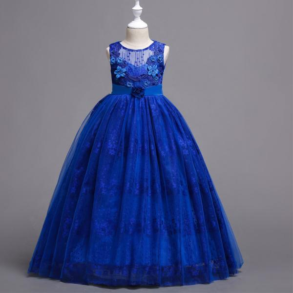 Long Lace Flower Girl Dress Teens Wedding Princess Party Birthday Gown Children Clothes royal blue