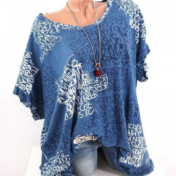 Women Casual T-Shirt Short Sleeve Summer Letter Printed Loose Tee Tops blue