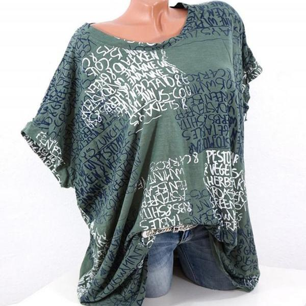 Women Casual T-Shirt Short Sleeve Summer Letter Printed Loose Tee Tops green
