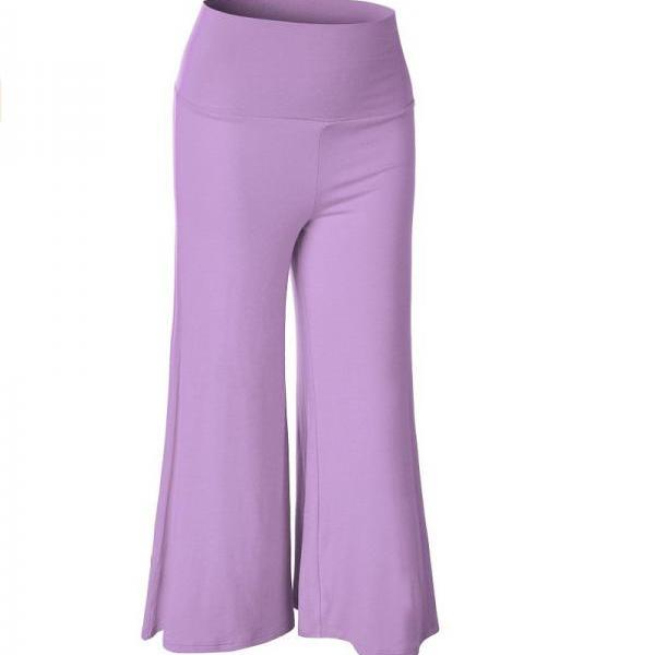 Women Wide Leg Pants High Waist Knee Length Summer Casual Loose Streetwear Trouses lilac