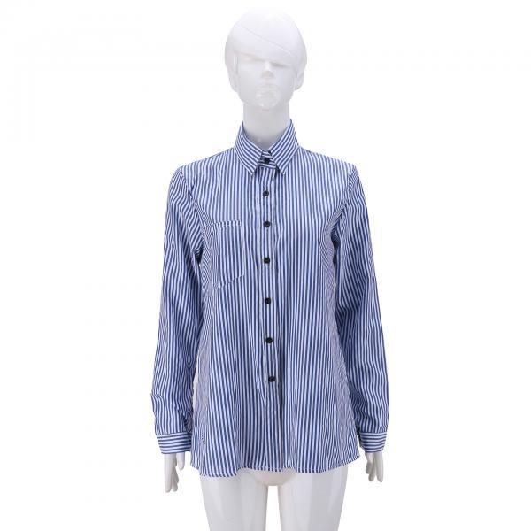 Women Striped Shirt Long Sleeve Turn-Down Collar Work Office Casual Loose Top Blouses blue
