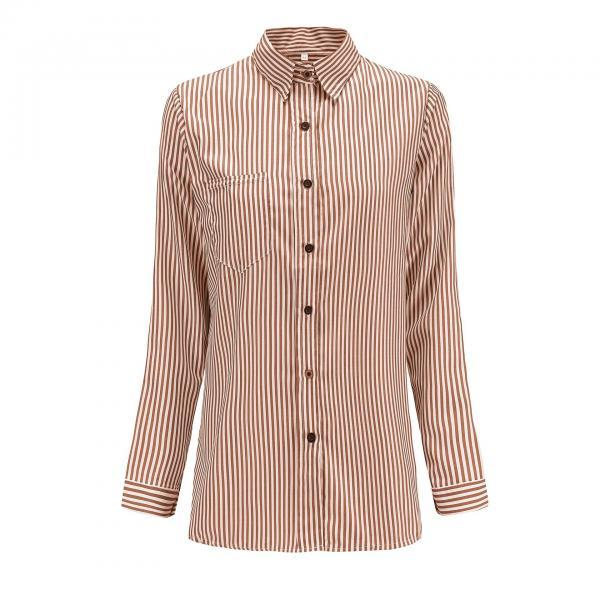 Women Striped Shirt Long Sleeve Turn-Down Collar Work Office Casual Loose Top Blouses brown