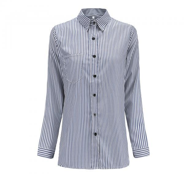 Women Striped Shirt Long Sleeve Turn-Down Collar Work Office Casual Loose Top Blouses navy blue