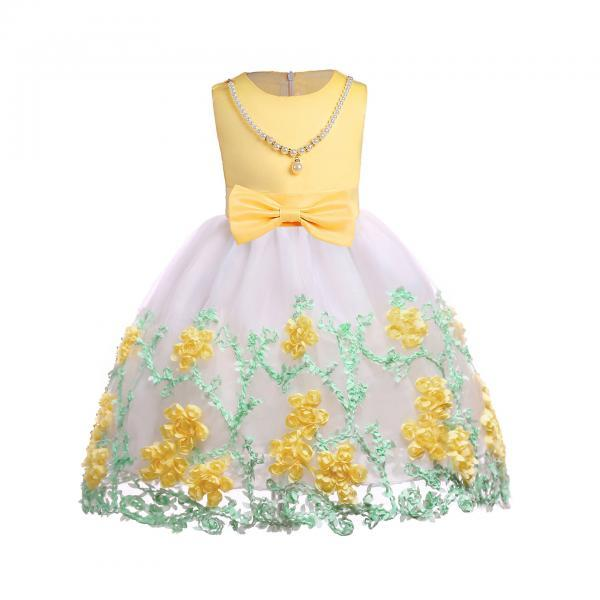 Embroidery Flower Girl Dress Pearl Formal Party Birthday Tutu Gowns Children Clothes yellow