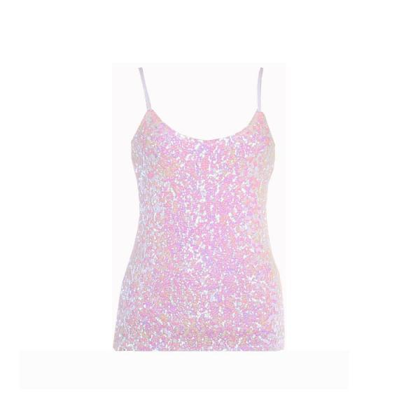 Women Sequined Camis Tank Top Spaghetti Strap Slim Club Party Sleeveless T-Shirt pink