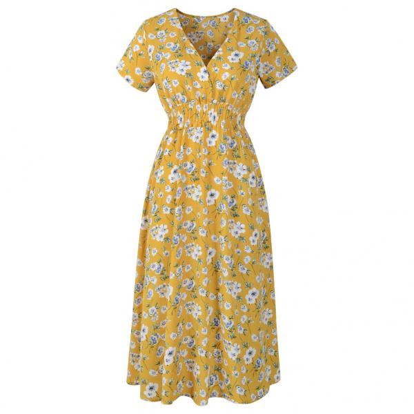 Boho Floral Printed Dress V Neck Short Sleeve Summer Beach Casual Party Dress yellow