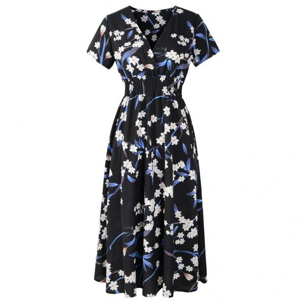Boho Floral Printed Dress V Neck Short Sleeve Summer Beach Casual Party Dress black