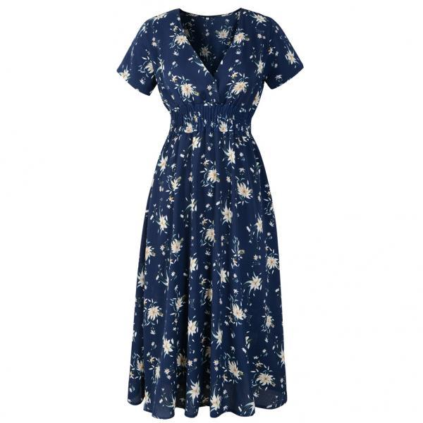Boho Floral Printed Dress V Neck Short Sleeve Summer Beach Casual Party Dress navy blue
