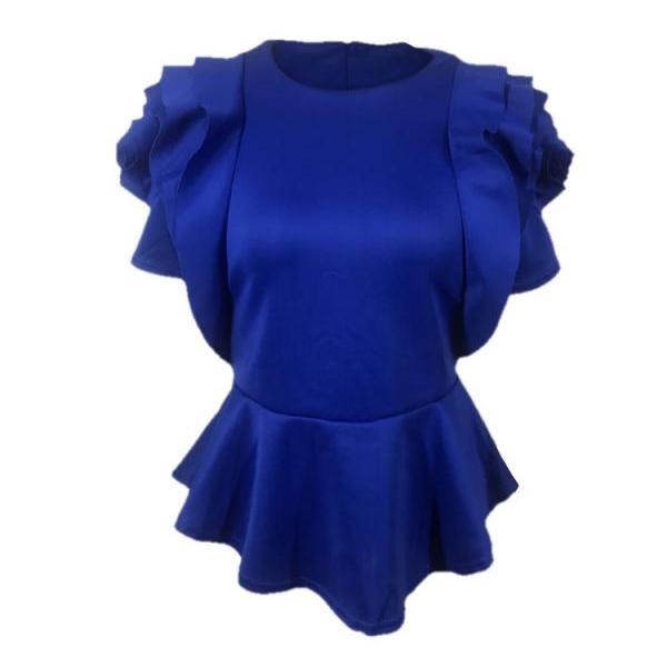 Women Casual T Shirt Summer Ruffles Short Sleeve Asymmetrical Tunic Tops Blouses royal blue