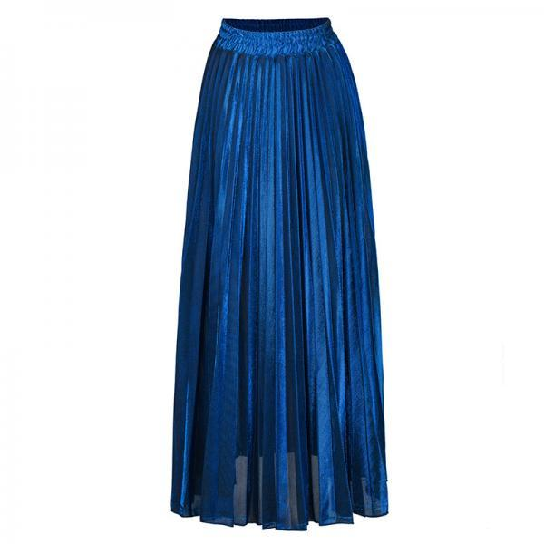 Women Maxi Skirt High Waist Ankle Length Casual Metallic Long Pleated Skirt blue