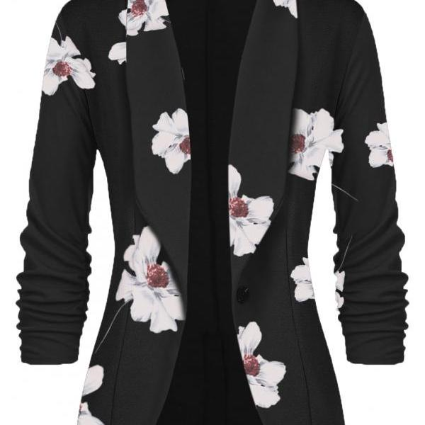 Women Slim Suit Coat 3/4 Sleeve One Button Casual Office Business Blazer Jacket Outwear floral