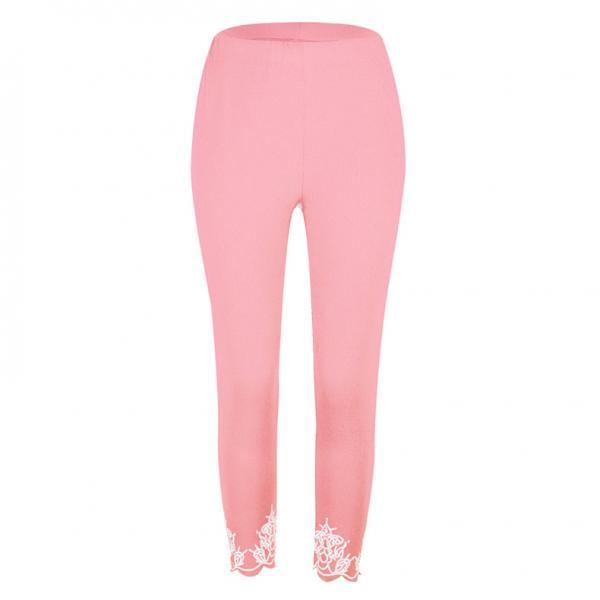 Women Leggings Floral Lace Hollow Out Slim Skinny Casual Plus Size Pencil Pants pink