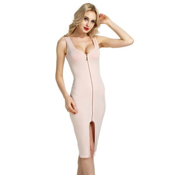 Women Sleevless Pencil Dress Front Zipper Slim Cocktail Club Bodycon Party Dress light pink
