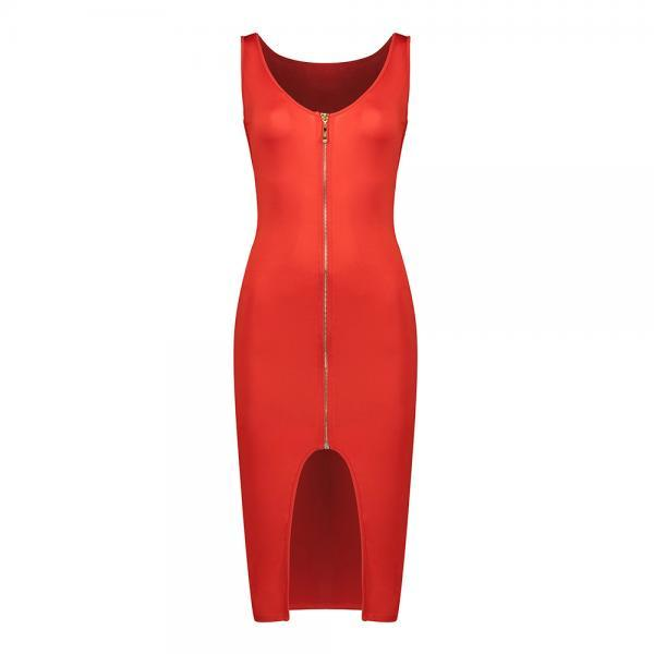 Women Sleevless Pencil Dress Front Zipper Slim Cocktail Club Bodycon Party Dress red