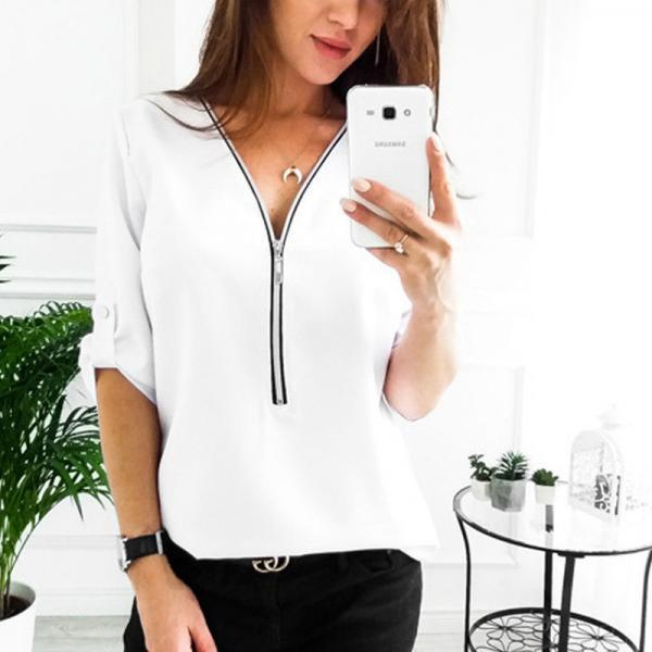 Women Blouses V Neck Zipper Long Sleeve Solid Summer Casual Loose Tops Shirt off white