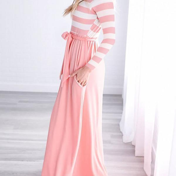 Women Maix Dress Boho Long Sleeve Striped Patchwork Belted Pocket Casual Long Beach Dress pink
