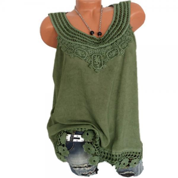 Women Tank Tops Lace Patchwork Vest Summer Casual Loose Sleeveless T Shirt army green