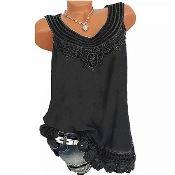Women Tank Tops Lace Patchwork Vest Summer Casual Loose Sleeveless T Shirt black