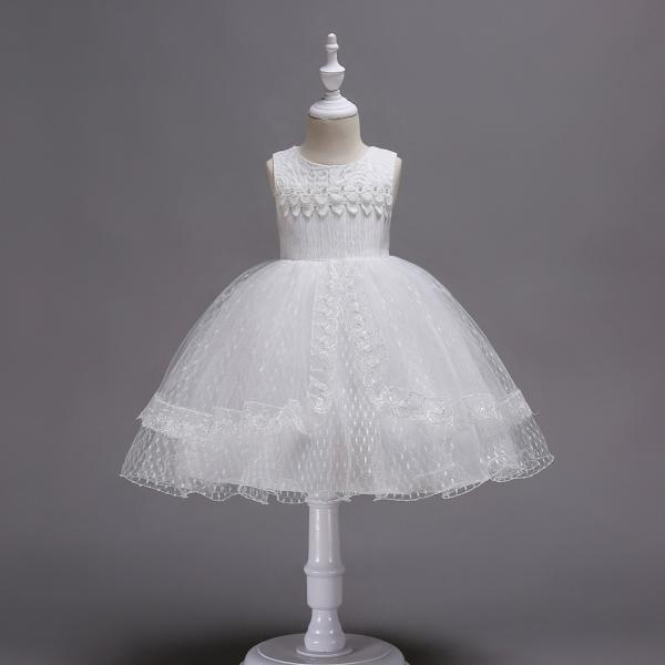 Lace Flower Girl Dress Sleeveless Princess Wedding Birthday Party Gown Children Clothes off white