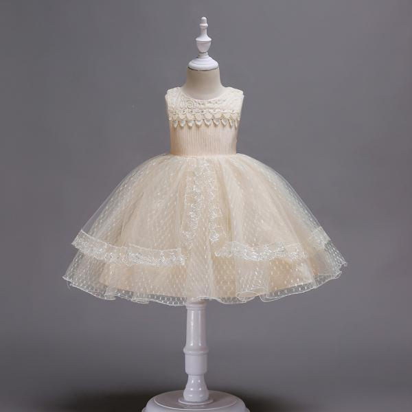 Lace Flower Girl Dress Sleeveless Princess Wedding Birthday Party Gown Children Clothes champagne