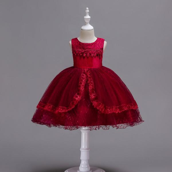 Lace Flower Girl Dress Sleeveless Princess Wedding Birthday Party Gown Children Clothes crimson