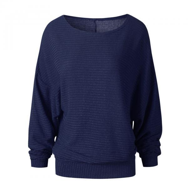 Women Knitted Sweater Spring Autumn Bat Long Sleeve Loose Oversized Pullover Tops navy blue