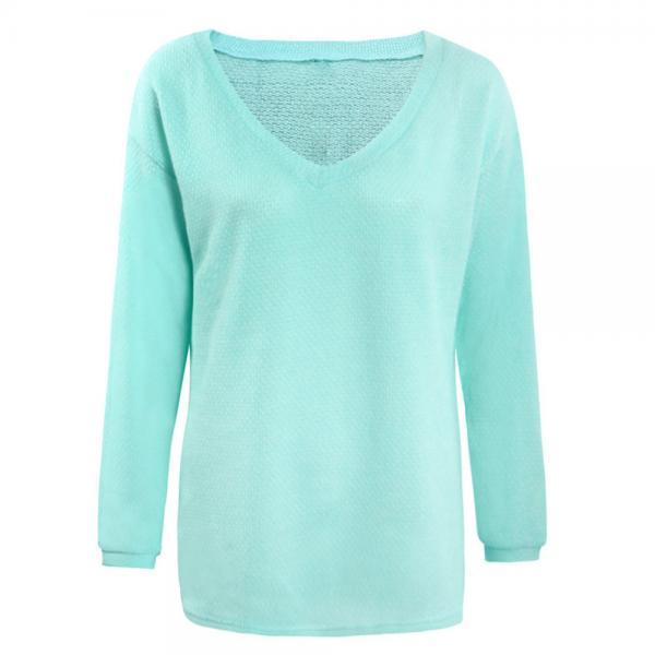 Women Knitted Sweater Spring Autumn V Neck Long Sleeve Casual Loose Top Pullover aqua