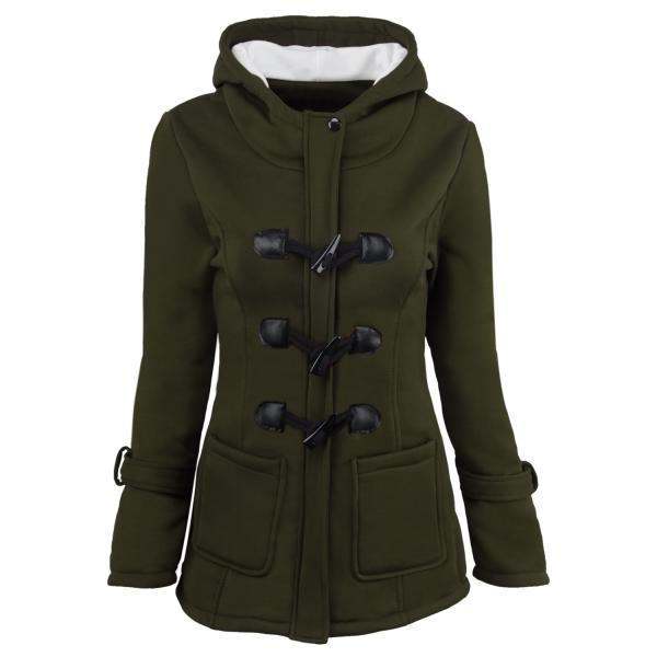 Women Parka Jacket Hooded Solid Warm Horns Buckle Winter Long Sleeve Slim Wadded Long Casual Coat army green