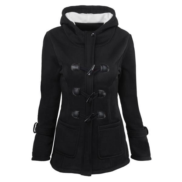 Women Parka Jacket Hooded Solid Warm Horns Buckle Winter Long Sleeve Slim Wadded Long Casual Coat black