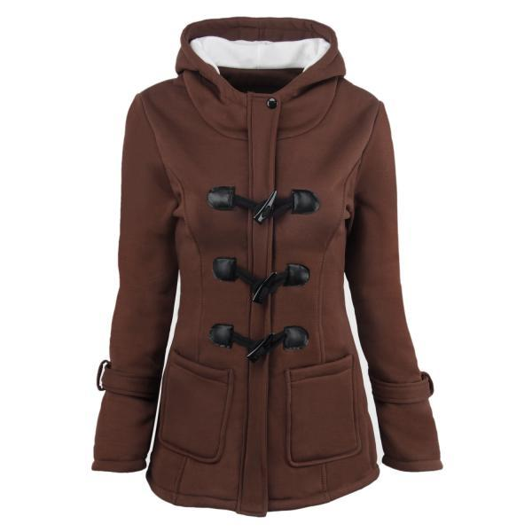 Women Parka Jacket Hooded Solid Warm Horns Buckle Winter Long Sleeve Slim Wadded Long Casual Coat coffee