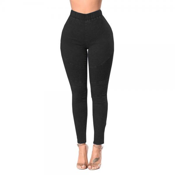 Women Denim Pencil Pants High Waist Stretch Skinny Casual Slim Jeans Trousers black
