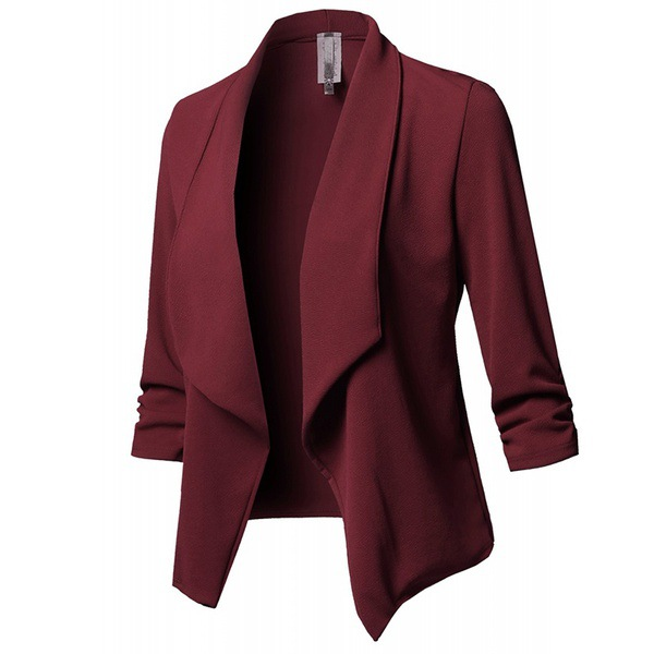 Women Suit Coat Casual Long Sleeve Autumn Work Office Business Slim Basic Long Blazer Jacket Outerwear burgundy
