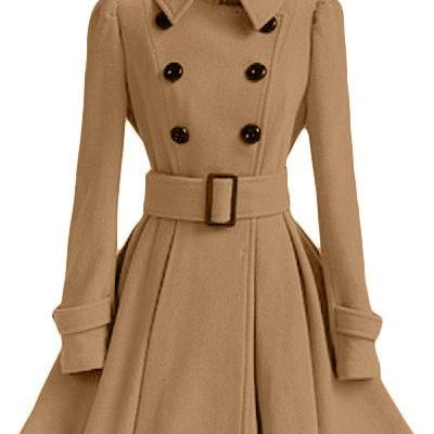 Winter Women Woolen Coat Casual Warm Female Double Breasted Slim Long Sleeve Thick Jacket camel