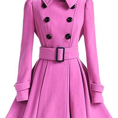 Winter Women Woolen Coat Casual Warm Female Double Breasted Slim Long Sleeve Thick Jacket deep pink