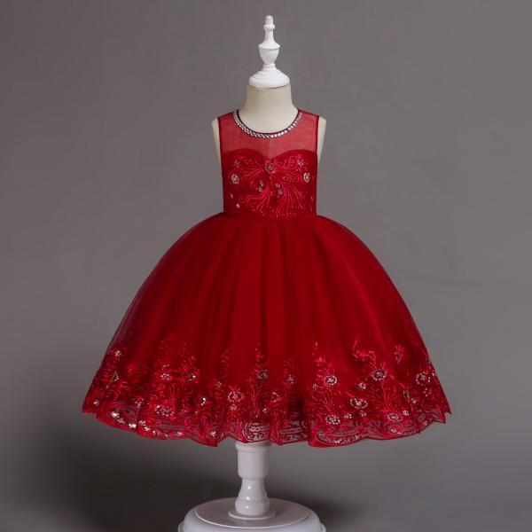 Embroidery Lace Flower Girl Dress Sleeveless Wedding Birthday Party Tutu Gown Children Clothes crimson