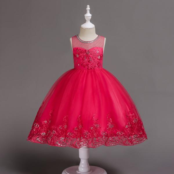 Embroidery Lace Flower Girl Dress Sleeveless Wedding Birthday Party Tutu Gown Children Clothes hot pink