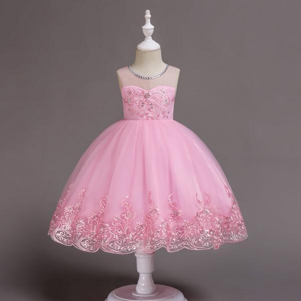 Embroidery Lace Flower Girl Dress Sleeveless Wedding Birthday Party Tutu Gown Children Clothes pink