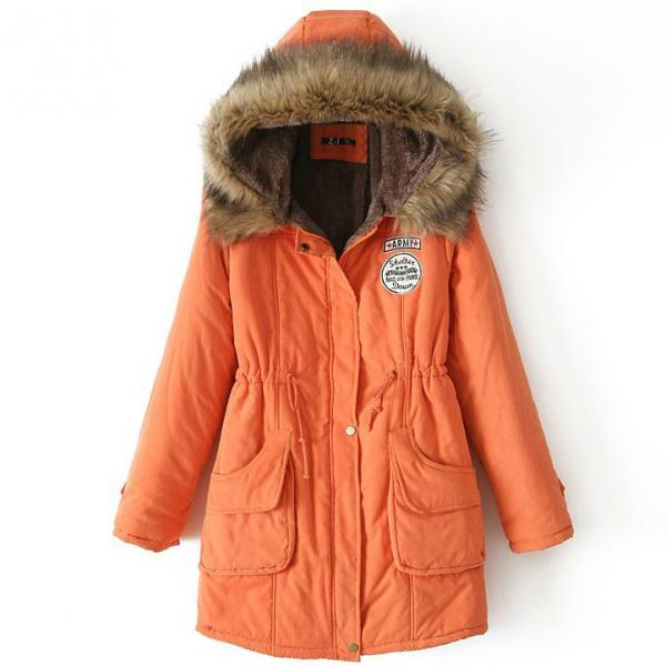 Winter Women Cotton Coat Parka Casual Military Hooded Thicken Warm Long Slim Female Jacket Outwear orange