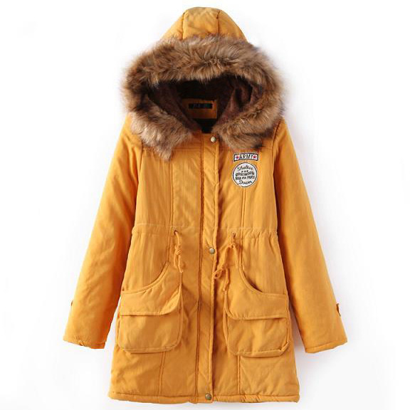 Winter Women Cotton Coat Parka Casual Military Hooded Thicken Warm Long Slim Female Jacket Outwear yellow