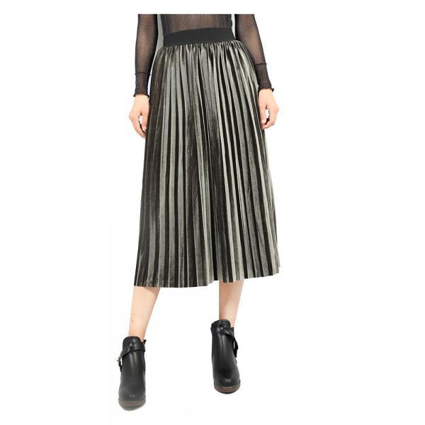 Women Velvet Pleated Skirt Autumn Winter Elastic High Waist Streetwear European Style Casual Midi Skirt army green