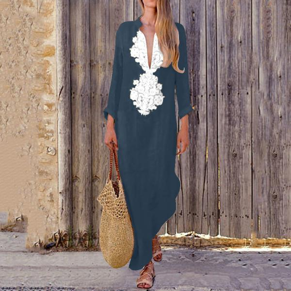 Women Maxi Dress Autumn V Neck Long Sleeve Cotton Linen Asymmetrical Side Split Casual Long Dress navy blue