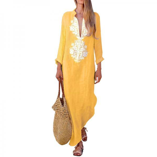 Women Maxi Dress Autumn V Neck Long Sleeve Cotton Linen Asymmetrical Side Split Casual Long Dress yellow