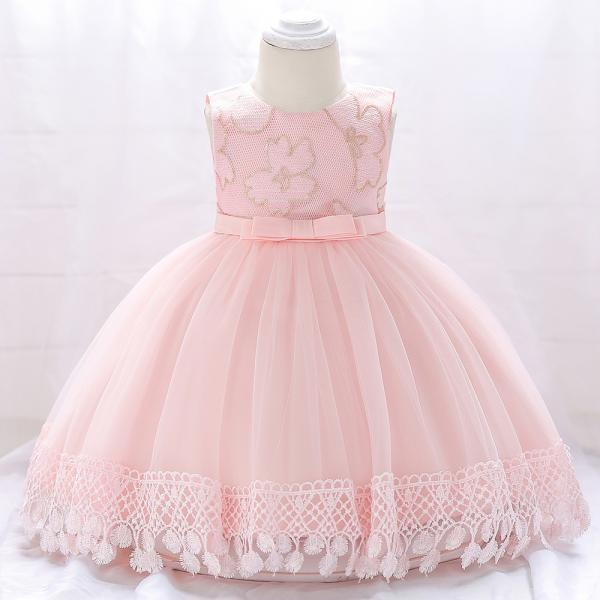 Newborn Baby Girl Baptism Dress Princess Lace Birthday Party Tutu Gown Children Clothes salmon