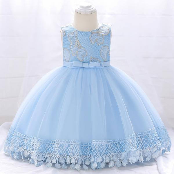Newborn Baby Girl Baptism Dress Princess Lace Birthday Party Tutu Gown Children Clothes sky blue