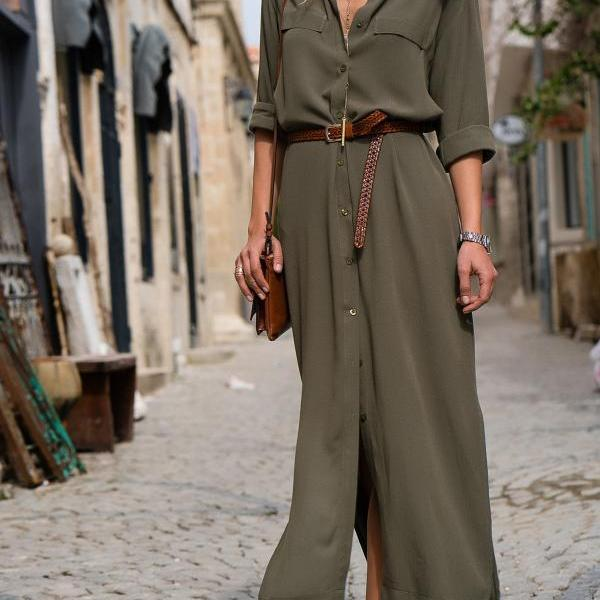 Women Maxi Shirt Dress Spring Autumn Long Sleeve Turn Down Collar Loose Casual Long Party Dress army green