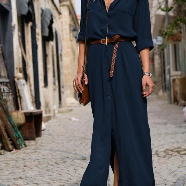 Women Maxi Shirt Dress Spring Autumn Long Sleeve Turn Down Collar Loose Casual Long Party Dress navy blue
