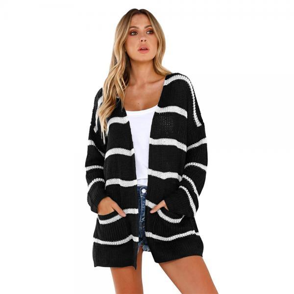 Women Striped Printed Cardigan Coat Autumn Streetwear Long Sleeve Knitted Casual Loose Sweater Jacket Outwear   black