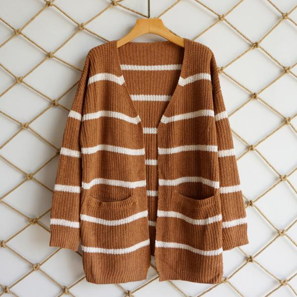 Women Striped Printed Cardigan Coat Autumn Streetwear Long Sleeve Knitted Casual Loose Sweater Jacket Outwear coffee