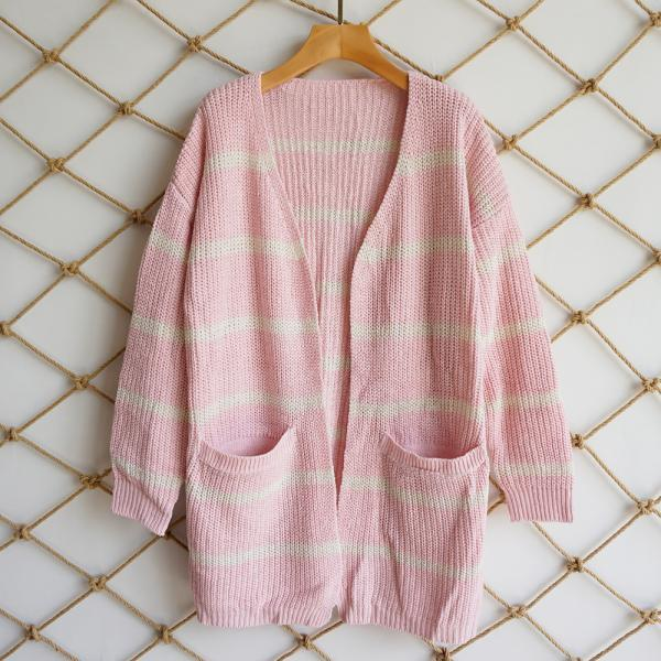 Women Striped Printed Cardigan Coat Autumn Streetwear Long Sleeve Knitted Casual Loose Sweater Jacket Outwear pink