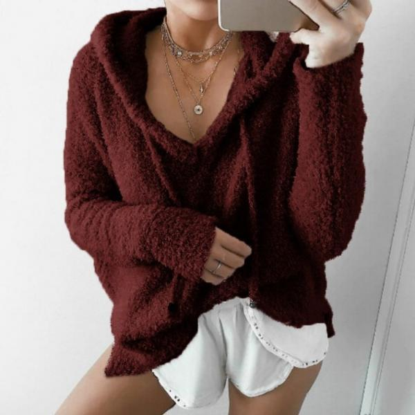 Women Fluffy Mohair Sweatshirt Autumn Warm Fleece Hoodies Drawstring V-Neck Hooded Long Sleeve Loose Pullover Tops  burgundy